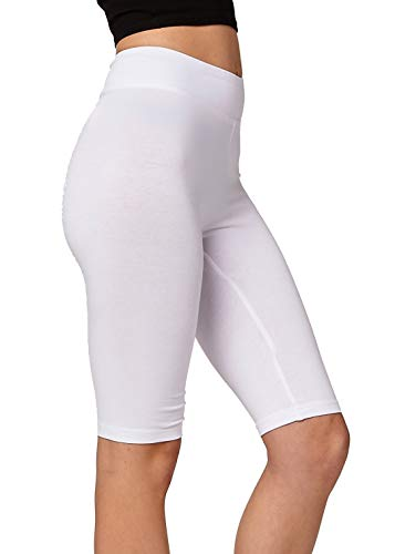 (Premium Ultra Soft Stretch High Waisted Cotton Leggings for Women with Yoga Waistband - Knee Shorts White - Medium)