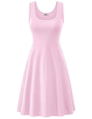 Herou Midi Tank Flared Dress for Women Rose Pink Large