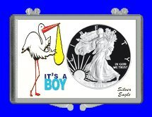 """3"""" x 2"""" Snaplock Silver Eagle Coin Holder for """"It's A Boy! - Stork Theme"""" (Without Coin)"""