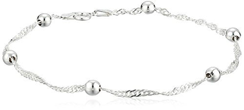 Sterling Silver 2.3mm Singapore-Chain Anklet, 9