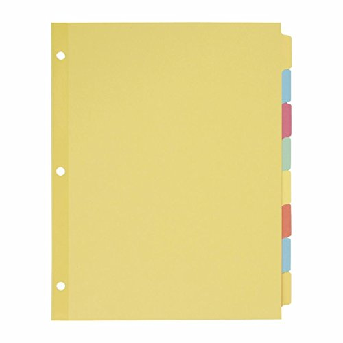 Avery 11509 Write & Erase Plain-Tab Paper Dividers, 8-Tab, Letter, Multicolor (Box of 24 Sets)