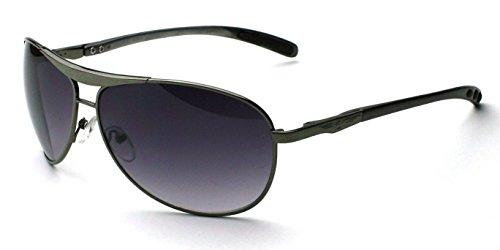 Lens Plastic Gray (Gunmetal Gray Lens Classic Retro Men'S Fashion Aviator Vintage Designer Sunglasses Black Silver)