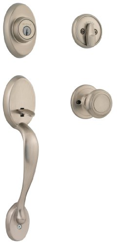 - Kwikset Chelsea Single Cylinder Handleset w/Cameron Knob featuring SmartKey in Satin Nickel