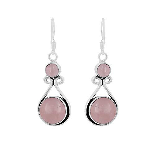 Genuine Round Shape Rose Quartz Dangle Earrings 925 Silver Overlay Handmade Fashion Jewelry For Women Girls