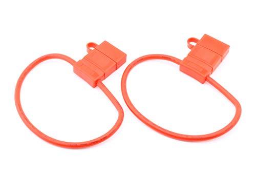 10r Fuse - (2X) LPR-03R-10R-2 | in-LINE FUSEHOLDER-Regular AUTO Blade Fuse| PVC Body with Splashproof Cap | 40 A 58 VDC | 10 awg Wire