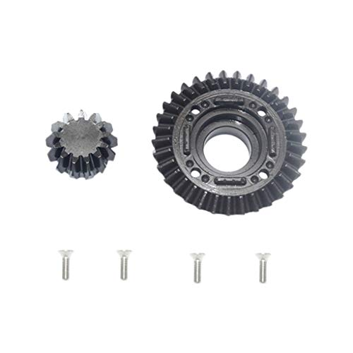 STARPROMISE Harden Steel Rear Differential Ring Gear and Pinion Gear Set for 1/7 Traxxas UDR (Black)