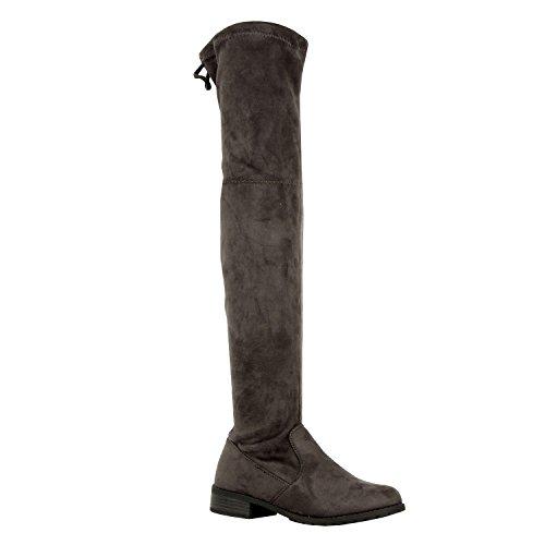Guilty Schuhe Damen Komfortable Pull Up Low Block Ferse Geschlossene Zehe Stiefel - Overknee Oberschenkel Hohe Stiefel Graues Wildleder