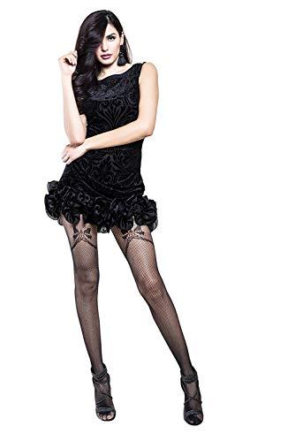 Yelete Killer Legs Women's Fishnet Pantyhose 168YD076, Black, Faux Garter Bow