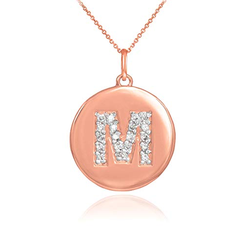 "Solid 14k Rose Gold Initial Letter""M"" Diamond Disc Pendant Necklace, (18"")"
