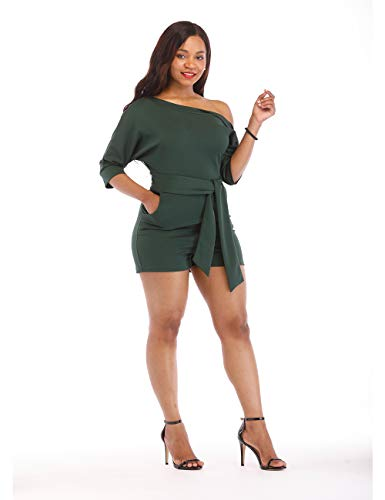 One Shoulder Rompers for Women Shorts Elegant Night Sexy Casual Summer Jumpsuits Dress Wide Leg Pants Plus Size Army Green XXL