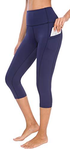 Lycra Workout Pants - Neonysweets Women's Workout Leggings Phone Pocket Running Yoga Pants (Large, YogaCapris2036-Navy Blue)