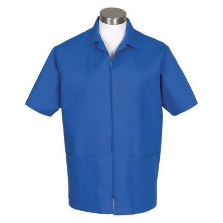 (Fame Fabrics 82654 K74 Zip Front Smock, Short Sleeves, Royal Blue, SM)