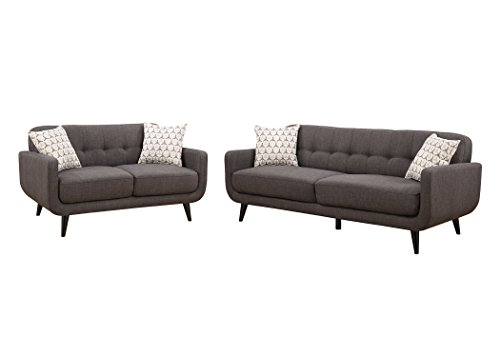 Christies Home Living 2Piece Crystal Sofa & Love Seat Fabric Room Set, Charcoal
