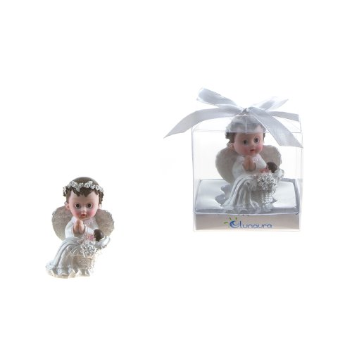"Lunaura Religious Keepsake - Set of 12 ""Boy"" Baby Angel in White Praying Next to Infant Favors - Blue"