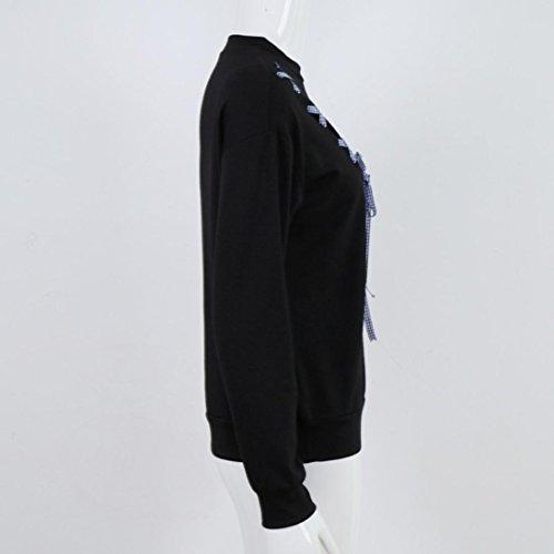 Goodsatar De las mujeres Manga larga Sólido Arco Sudadera Sudadera con capucha Tops Blusa Negro