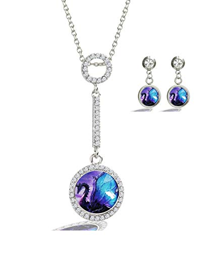 Purple Button Earrings - XuSuJuan Image Custom Design Charm Crystal Rhinstone Silver Plated Glass Pendant Necklace Stud Earrings (Purple Dragon)