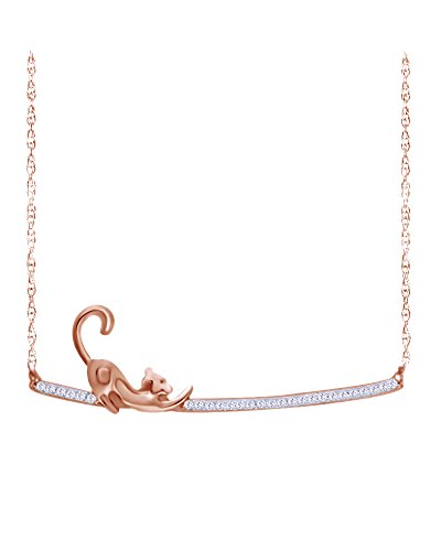(Wishrocks Round Cut White Diamond Stretching Cat Bar Necklace in 14K Rose Gold Over Sterling Silver (1/10 CT))