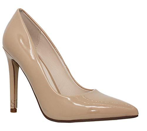 MVE Shoes Classic Pointed Toe Pumps - Slip On Comfortable Work High Heel - Closed Toe Kitten Heel - Classic Elegant Versatile Stiletto Heel Dress Pumps Shoes - France, Beige pat Size 9