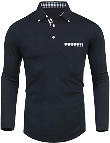 Daupanzees Men's Polo Shirts Fashion Solid Big and Tall 2018 Stylish Contrast Color Regular-Fit Plaid Long Sleeve Jersey Polo Collar T Shirt (Navy Blue XXL)