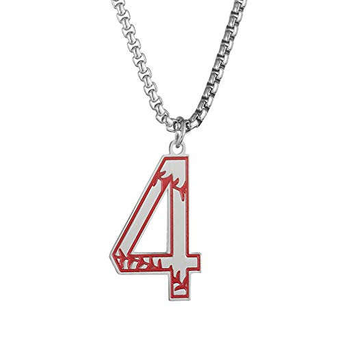 jiana Baseball Number Necklace for Boy,Men Sport Inspiration Initial Number Baseball Jersey Number 4 Charms Stainless Steel Necklace Chain Jewelry Gift ()