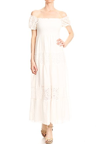 ( Anna-Kaci Womens Off Shoulder Boho Lace Semi Sheer Smocked Maxi Long Dress, Off-White, Medium )