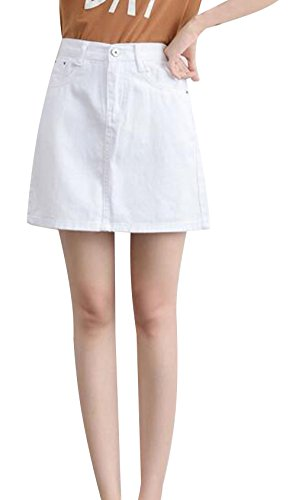 Women Juniors Jean Washed Short Skirt Denim Classic Fit Mini Skirt (S, White)