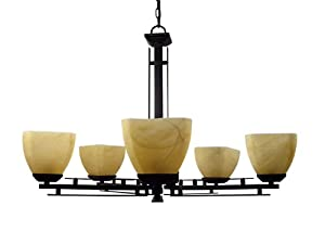Yosemite Home Decor 95535-5VB Half Dome Chandelier with Parchment Frosted Shade, 5-Light, Venetian Bronze