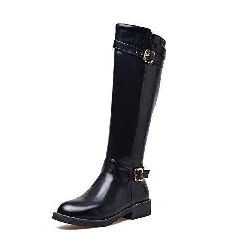 Zapatos Dropship Diseño Hasta Botas Rodilla Grande 43 Hebillas Marca Black Mujer 32 Tamaño Hoesczs Montar La De zqx0wFF