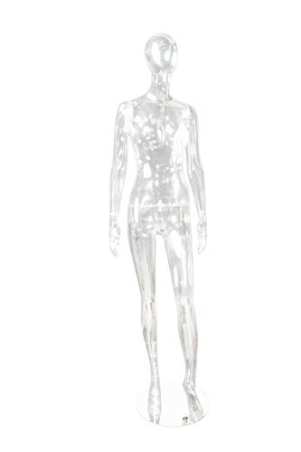 Newtech Display MAF-CL2-EGG1 Unbreakable Egg Face Mannequin, Left Leg Slightly Bent, Arms Straight, Clear by Newtech Display