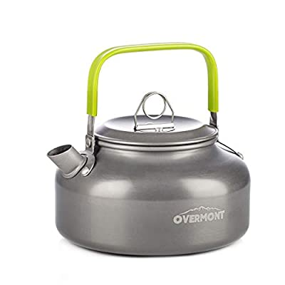 Overmont Camping Kettle Camp Tea Coffee Pot Aluminum 27/42 FL OZ Outdoor Hiking Gear Portable Teapot Lightweight with Silicon Handle