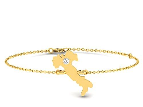 Or Jaune 14 ct Bracelet Diamant en forme de Carte, 0.01 Ct Diamant, GH-SI, 1.11 grammes.