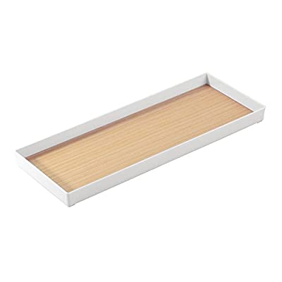 "iDesign RealWood Plastic Vanity Storage Organizer, Tank Tray for Makeup Brushes, Tissues, Candles, Soap, Hand Towels, Toilet Paper, 16"" x 6"" x 1.25"" - White and Light Wood - STORAGE BIN: Great for creating a clean and organized vanity. Ideal for candles, makeup brushes, cosmetics, lotion, creams, tissues, matches, soap, bath supplies, hair supplies. Also great for use on your countertop, shelf, bathroom, bedroom, desk, or under sink STYLISH: White plastic construction with a RealWood veneer accent in a light finish adds a natural look to any decor style PORTABLE DESIGN: Easily move your items from place to place with the convenient ledges for grabbing - organizers, bathroom-accessories, bathroom - 312iKmAENQL. SS400  -"