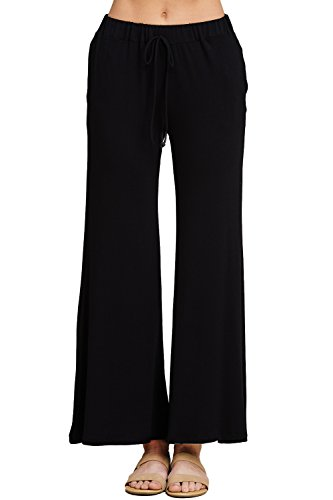 Annabelle Women's Relaxed High Rise Elastic Front Tie Wide Straight Leg Lounging Type Side Pocketed Solid Plus Size Pants Black X-Large P9049P