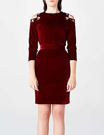 GIZIA CASUAL Kadın Ez117 Elbise, Bordo, 36 Beden