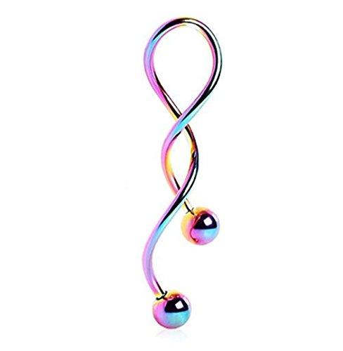 (Kiokioa Spiral Twist Navel Ring 316L Surgical Steel Body Piercing Rings14g (Rainbow))