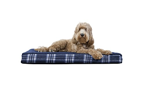 FurHaven Pet Dog Bed | Deluxe Orthopedic Plaid Mattress Pet Bed for Dogs & Cats, Midnight Blue, Large ()