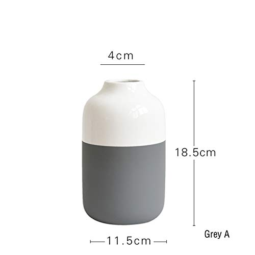 (1Pc Multicolor Ceramic Vase White and Grey Porcelain Flower Vase Home Decor Water Planting Container,Grey)