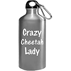 Crazy Cheetah Lady - Cat Feline Africa - Funny Animal Gift - Water Bottle