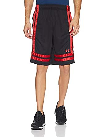 Under Armour Men's Baseline 10 in Shorts 18 SHORTS, Grey (Black/red), X-Large