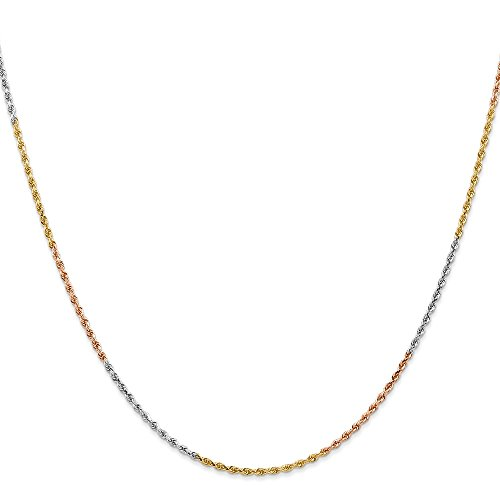 - Core Gold 14k Tri-Color 1.5mm Diamond-cut Rope Chain Anklet