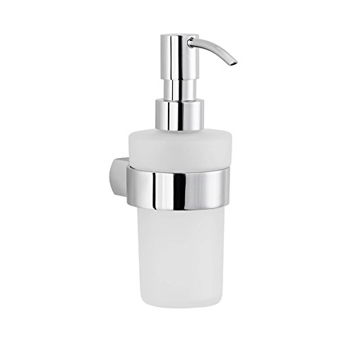 Maykke Noe Valley Mounted Liquid Soap Dispenser Frosted Glass Bottle Wall Mount Holder, Modern Space-Saving Bathroom Vanity Lavatory, Kitchen Countertop Accessory Polished Chrome Pump, DLA2000501
