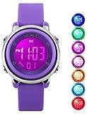 Niños USWAT® Sports Watches reloj Digital para exteriores de niñas con Boy reloj cronómetro despertador LED con control remoto de muñeca vestido de los niños morado
