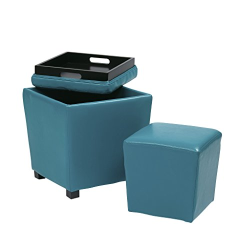 Office Star Metro 2-Piece Storage Ottoman Cube Set in Vinyl, Blue