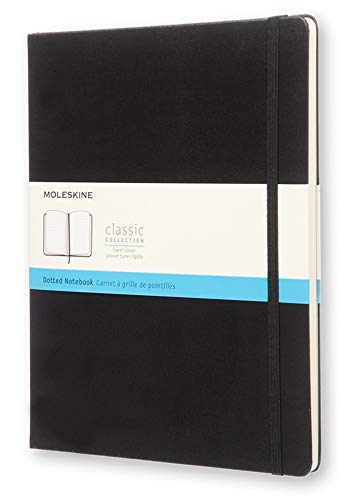 "Moleskine Classic Notebook, Hard Cover, XL (7.5"" x 9.5"") Dotted, Black, 192 Pages"