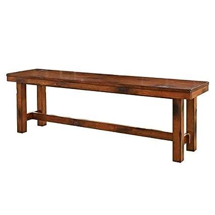Attirant WE Furniture Solid Wood Dark Oak Dining Bench