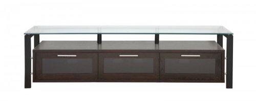 Plateau DECOR 71 BB Wood and Glass TV Stand, 71-Inch, Black Oak Finish -