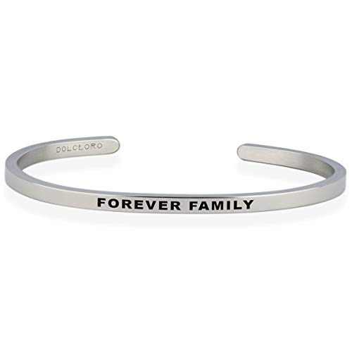 Dolceoro Forever Family - Inspirational Mantra Bracelet Jewelry 316L Surgical Stainless Steel