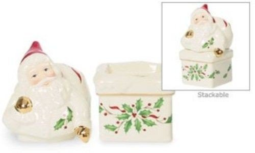 DistiKem(TM) Lenox Holiday Santa Atop Chimney Stackable Salt & Pepper Shakers New in (Holiday Santa Salt)