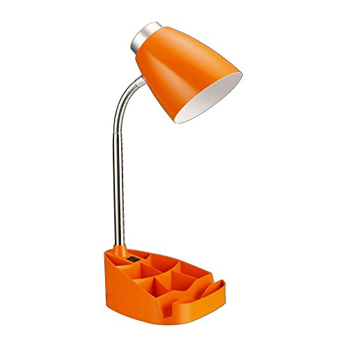 "Limelights LD1002-ORG Gooseneck Organizer Desk Lamp with iPad Tablet Stand Book Holder, 7.5"" x 6.6"" x 17.25"", Orange"