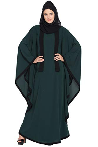 Mushkiya Green Kaftan Abaya with Black Borders-Green-Black for girls, ladies, women, Burkha (KAB-035-Green-Black)